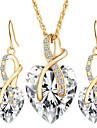 Pentru femei Seturi de bijuterii Cercei Picătură Coliere cu Pandativ Cristal Diamant sintetic Cristal Inimă Iubire de Mireasă Elegant