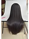 Äkta hår Spetsfront Peruk Rak 130% Densitet 100 % handbundet Afro-amerikansk peruk Naturlig hårlinje Korta Mellan Lång Dam Äkta peruker