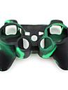 camuflaj stil carcasă din silicon de protecție pentru PS3 controler (verde și negru)