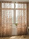 Margine cu inele de trecere Un Panou Tratamentul fereastră European , Jacquard Frunză Sufragerie Amestec poli/bumbac Material Sheer