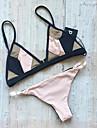 Dame Poliester Spandex Bustieră,Bikini Monocolor Bloc Culoare