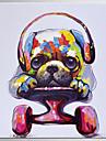 HANDMÅLAD Popkonst Fyrkantig, Klassisk Moderna Duk Hang målad oljemålning Hem-dekoration En panel