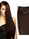 Febay На клипсе Расширения человеческих волос Прямой Натуральные волосы Medium Brown / Bleach Blonde