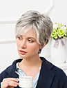 Human Hair Capless Wigs Human Hair Straight Pixie Cut / With Bangs Side Part Ombre Short Wig Women\'s