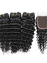 Äkta hår Indiskt hår Human Hår vävar Djupa vågor Hårförlängningar 4 delar Svart