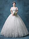 Prințesă Bijuterie Lungime Podea Dantelă Organza Tulle Paiete Rochie de mireasă cu Mărgele Paiete Aplică Dantelă de