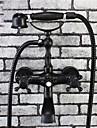Tradițional Vană și Duș Duș De Mână Inclus Valvă Ceramică Două găuri Bronz patinat , Robinete de Vană