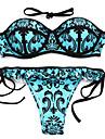 Pentru femei Boho Bikini - Imprimeu, Floral Halter Cheeky Bustieră Fașă Elastică