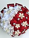 Flori de Nuntă Rotund Trandafiri Buchete Nuntă Petrecere / Seară Satin Mătase Mărgea Ștras