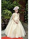 Rochie de mână lungime rochie floare fata rochie - tul charmeuse fără mâneci v-gât cu beading