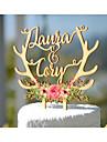 Vârfuri de Tort Personalizat Cuplu Clasic Hârtie cărți de masă Aniversare Petrecerea Bridal Shower Nuntă GalbenTemă Grădină Temă Florală