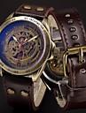 Bărbați Ceas Sport Ceas Militar Ceas Schelet Ceas de Mână ceas mecanic Punk Oțel inoxidabil Piele Autentică Bandă Vintage camuflaj Cool