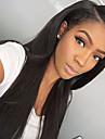 Äkta hår Spetsfront Peruk Rak 130% Densitet 100 % handbundet Afro-amerikansk peruk Naturlig hårlinje Lång Dam Äkta peruker med hätta