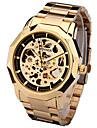 Heren Sporthorloge Modieus horloge Dress horloge Automatisch opwindmechanisme Echt leer Meerkleurig 30 m Analoog Amulet Informeel - Goud Zilver