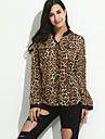 Damă Stand Cămașă Casul/Zilnic Simplu(ă),Leopard Imprimeu Animal Manșon Lung Toate Sezoanele-Mediu