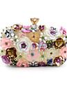 Pentru femei Genți Poliester Geantă Seară Imitație de Perle / Cristale / Strasuri / Flori Curcubeu / Pungi de nunta
