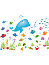 perete decalcomanii autocolante de perete, autocolante de perete stil de desen animat pvc pește