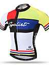 XINTOWN Homme Manches Courtes Maillot de Cyclisme - Jaune Velo Maillot, Sechage rapide, Respirable, Anti-transpiration