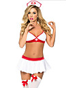 Women\'s Nurse Adults\' Sex Cosplay Costume Solid Colored Top Skirt