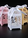 În Formă de Cub Hârtie perlă Favor Holder cu Panglici Cutii de Savoare