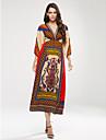 Femme Boheme Balancoire Robe Plage Boheme,Imprime Col en V Maxi Sans Manches Rouge Jaune Soie Printemps Taille Normale Micro-elastique