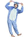 Kigurumi-pyjamas Blått Monster Tecknat Onesie-pyjamas Kostym Flanell Blå Cosplay För Pyjamas med djur Tecknad serie halloween Festival /