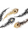 Tatueringsklistermärken - Mönster - Blomserier - till Spädbarn/Dam/Girl/Vuxen/Tonåring - Guld - Papper - #(1) - styck #(15x9) - Feather