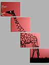 Pictat manual Animal Orizontal,Modern Stil European Patru Panouri Canava Hang-pictate pictură în ulei For Pagina de decorare