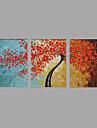 Pictat manual Peisaj Floral/Botanic Orizontal,Modern Pastoral Trei Panouri Canava Hang-pictate pictură în ulei For Pagina de decorare