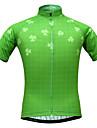 JESOCYCLING Dam Kortärmad Cykeltröja - Grön Cykel Tröja, Snabb tork, UV-Resistent, Andningsfunktion, Svettavvisande