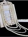Pentru femei Coliere Layered Κολιέ με Πέρλες Cross Shape Perle Multistratificat Lung de Mireasă costum de bijuterii Bijuterii Pentru