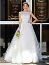 Ball Gown Jewel Neck Floor Length Tulle Wedding Dress with Beading Appliques by LAN TING BRIDE®