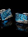 Buton Tie Bar Tie clip Articole de ceramică La modă Cutii de cadouri & Pungi Μανικετόκουμπα Argint Albastru 1 pereche