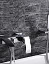 Contemporan Montaj Perete Cascadă Valvă Ceramică Singur mâner trei găuri Crom , Robinete de Vană