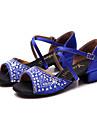 Femme Latines Satin Sandale Basket Exterieur Strass Cristal Talon Bottier Noir Fuchsia Rouge Bleu 5,1 a 7cm
