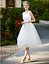 A-Line Square Neck Knee Length Lace / Tulle Made-To-Measure Wedding Dresses with Lace by LAN TING BRIDE® / Little White Dress