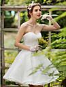 Prințesă In Formă de Inimă Lungime Genunchi Dantelă Rochie de mireasă cu Cristal Mărgele Aplică Flori de LAN TING BRIDE®
