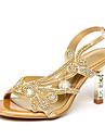 Damen Kristall Sandalen Mikrofaser Sommer / Herbst Komfort / Neuheit / Club-Schuhe Sandalen Walking Stoeckelabsatz Offene Spitze Strass / Glitter / Schnalle Gold / Purpur / Hochzeit