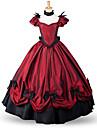One-piece/Klänning Klassisk/Traditionell Lolita Victoriansk Cosplay Lolita-klänning Röd Solid Färg Golvlång Kjol Rosett För Vadderat tyg