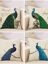 4.0 pcs Coton/Lin Taie d\'oreiller Housse de coussin, Mode Animal Nouveaute Retro Decontracte Europeen Neoclassique Traditionnel/Classique