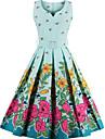 Damă Vintage Swing Rochie-Floral Fără manșon În V Lungime Genunchi Bumbac Vară Talie Medie Micro-elastic Subțire