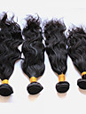 Äkta hår Peruanskt hår Human Hår vävar Naturligt vågigt Hårförlängningar 4 delar Svart