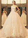 Princesa Decote Princesa Longo Lace Over Tulle Vestidos de noiva personalizados com Cristais Apliques Renda de LAN TING Express