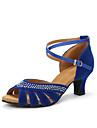 בגדי ריקוד נשים נעליים לטיניות עקבים ריינסטון עקב מותאם מותאם אישית נעלי ריקוד שחור / אדום / כחול / בבית / עור