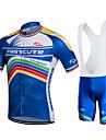 Fastcute Maillot et Cuissard a Bretelles de Cyclisme Homme Femme Unisexe Manches Courtes Velo Cuissard a bretelles Shirt Maillot Collant