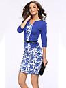 Damă Birou / Carieră Îmbrăcăminte Corporate Simplu(ă) Sofisticat Linie A Bodycon Rochie-Floral Tipar Peteci Lungime Manșon 3/4 Stand
