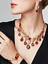 Pentru femei Zirconiu Cubic Ștras 18K Aur Lux Set bijuterii Include 1 Colier 1 Pereche de Cercei 1 Brățară 1 Inel Brățară Σκουλαρίκια