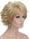 Perruque Synthetique Boucle Coupe Degradee Blond Femme Sans bonnet Perruque Naturelle Court Cheveux Synthetiques