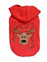 Câine Hanorace cu Glugă Îmbrăcăminte Câini Crăciun Ren Rosu