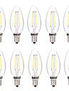 BRELONG® 10pcs 2W 200 lm E14 Bec Filet LED C35 2 led-uri COB Intensitate Luminoasă Reglabilă Alb Cald Alb AC 220-240V